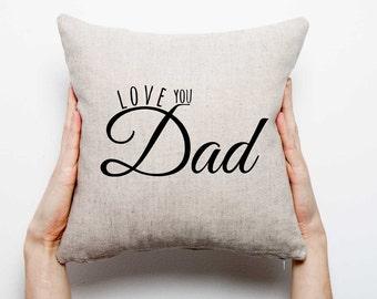 Linen pillow. Natural pillow. Handmade pillow. Pillow with inscription printed. Dad
