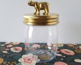 6 Gold Animal Favor Jars, Plastic Jars, Mama Bear, Baby Bear, Baby Shower, Bridal Shower, Birthday Favor, Woodland Theme, Kid Friendly