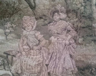 Large Tapestry Panel in Faded Pastel Colours, Shabby Vintage French Woven Cloth, Romantic Country Scene