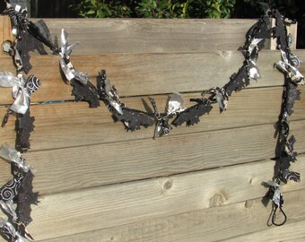 6' Halloween Bat Garland Halloween Garland Bat Garland Bat Fabric Garland Silver Black Garland Halloween Bat Decor Halloween Bat Decor