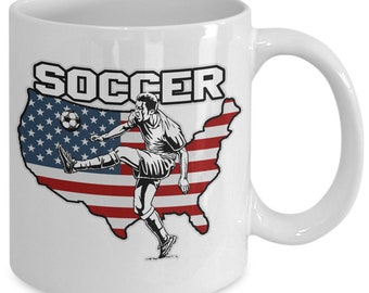 Soccer 11oz White Coffee Mug Player Ball American Flag Gift for Soccer Players, Soccer Gift Idea, Soccer Coach Gift, Soccer Mug