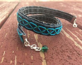 Re-Purposed Denim Hand-Embroidered Double Wrap Bracelet