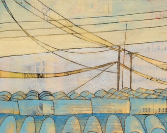 Fragile & So Strong - Fine Art Print of Original Painting by Janet Nechama Miller - Rooftop and Power Lines