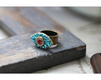 Swarovski Crystal Evil Eye Ring / Pink and Blue Cocktail Ring / Adjustable and One Size Fits All / Modern Good Luck Charm