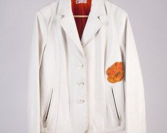 Leather Jacket 90 ' D & G style, white all hand-embroidered.-Cod D44