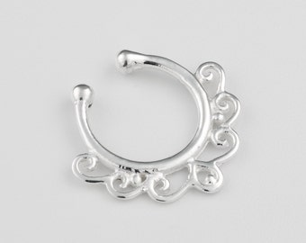 Faux silver septum ring. septum clip on. tribal septum ring. faux septum. fake septum. septum jewelry. faux septum ring.