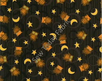 Scaredy Cats Owls Over the Moon Black - Wilmington Prints Q1862-67511-925 (sold by the 1/2 yard)