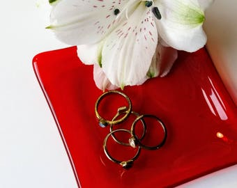 Red Glass Ring Dish - Spoon Rest - Trinket Dish