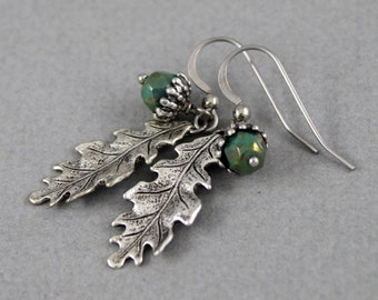 Picasso Green Acorn earrings - vintage style antique silver earrings, fall, autumn, nature, woodland jewelry