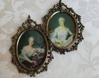 Vintage Ladies Framed Portraits In Ornate Brass Frames Wall Art Prints Set of 2 Oval With Convex Bubble Glass, Sophisticated Woman Women