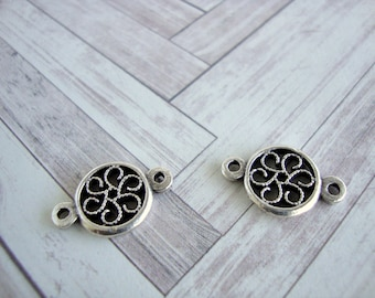 Pewter Flower Connector, Jewelry Connector, Filigree Flower Mykonos Charms, 13x20mm,