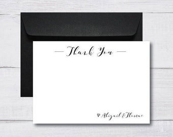 Thank You Cards w/ Envelopes Flat Style | Wedding Engagement Birthday | Typography Minimalist Simple Monochrome