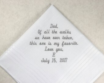 Father of the bride Gift Embroidered Personalized Wedding Handkerchief Wedding Hankerchief Gift for Dad from the Bride w/ optional Gift box