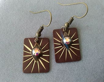 Brown and Antiqued Brass Rectangle Earrings