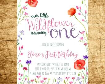 Wildflower Birthday Invitation, Watercolor Floral Birthday Invitation, Wild One Birthday Invitation, Wildflowers, Digital, Printable