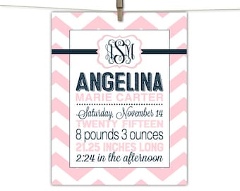 birth announcement wall art for baby girl monogram | unique baby gifts personalized | baby announcement gift | printable, print or canvas