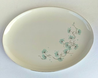 Large Vintage Platter Featuring Blue Floral Design: Farmhouse, Shabby Chic, Cottage Kitchen, Gallery Wall, Mid Century