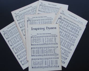 50 Vintage Hymnal Book Pages 25 Sheets of Church Songs Music Paper Craft Supply Collage Altered Art DIY Religious Hymn Lyrics 1951 ~ 8454