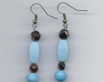 Beaded Dangle Earrings in Shades of Turquoise and Bronze E18