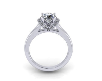 Diamond engagement ring with moissanite center, style 92WDM