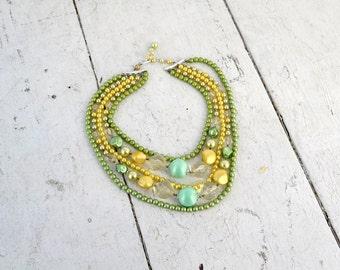 1960s Green Multi-Strand Pearl Necklace