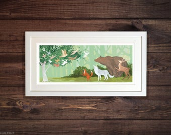 Woodland Animals - Illustrated Art Print. Wolves, Bears, Foxes, Deer and Owls? Oh my! by Emmeline Pidgen Illustration