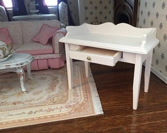SALE Miniature White Desk With Drawer, Dollhouse Miniature Furniture, 1:12 Scale, Mini White Table, Desk