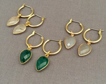 kelsey - petite charm hoop earrings