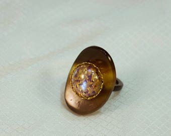 Vintage Faux Tortoise Shell Fashion Ring