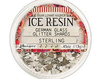STERLING Ice Resin German Glitter Glass,  Susan Lenart Kazmer Inclusions for Casting .45oz, Silver German Glass Shards For Using With Resin