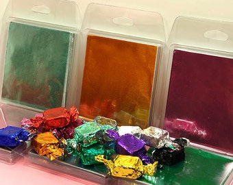 """Foil Candy Wrappers for Homemade Candies and Chocolates, 3"""" by 3"""" Square, Package of 125 Wrappers, Assorted Color Choices"""
