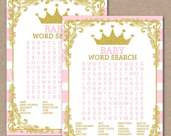 INSTANT DOWNLOAD, Princess Baby Shower Word Search, Printable Baby Shower Games, Printable Shower Games, Princess Baby Shower, #0018