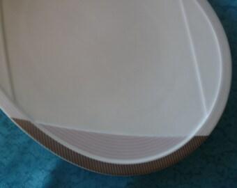 "Bernardaud Limoges France STREAM LINE Triangular design Platinum Grays and Pink -  discontinued -  Large 15.5"" Oval Serving MEAT Platter"