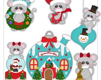 Little Christmas Mouse 1 Clipart (Digital Download)