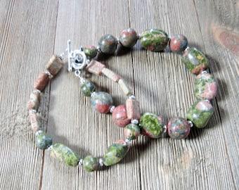 Unakite couples bracelet - his hers bracelet -  wedding shower gift - couples yoga gift - partner gift