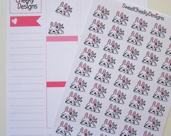 Cute Bunny Bad Day Stickers!  Perfect for Erin Condren Life Planner, MAMBI/Happy Planner, Plum Planner, Etc.