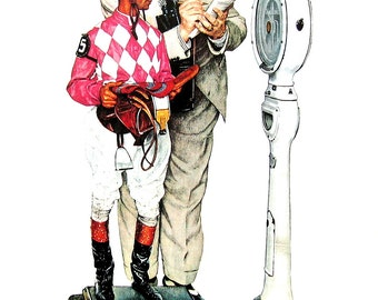 Weighing In - The Jockey - Large Norman Rockwell Poster Sized Print - 1977 Vintage Book Page - 15 x 12