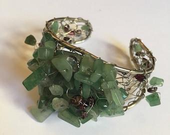 Jade and silver cuff bracelet