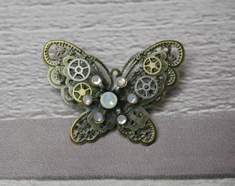Opal Steampunk Butterfly Brooch, Steampunk Brooch, Steampunk Pin, Butterfly Pin, Butterfly Jewellery, Steampunk Jewellery