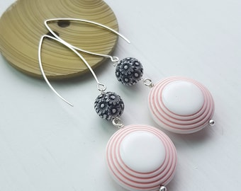 audrey earrings - vintage lucite and sterling - pink, black and white, flowers - long, dangly earrings - 60's fashion