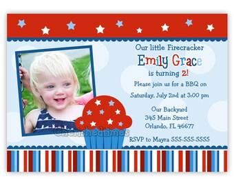 Patriotic-Little Firecracker- 4th of July Birthday Invitation (Digital File)