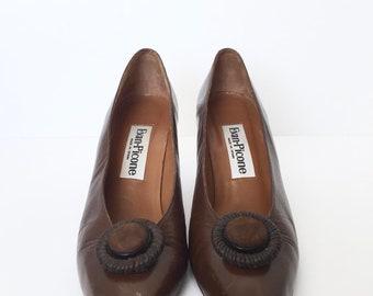 Vintage 80's Evan-Picone Brown Leather Pointed Toe Pump Size 9N