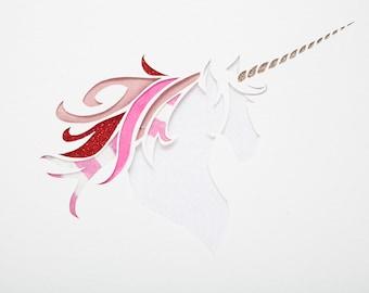 Unicorn papercut art //  personalized gift - handmade - pink picture - glitter - mixed media - nursery wall art