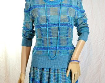 1970's Teal SWEATER & SKIRT SUIT Dress by Albert Nipon made in Italy Size small 6 / 8