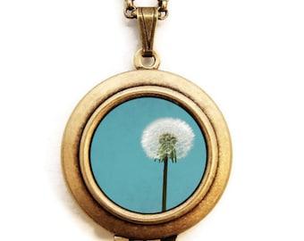 I Wish For A Blue Sky - Dandelion Flower Photo Locket Necklace