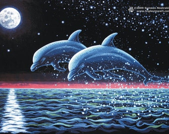 Two Dolphins UV Black Light Fluorescent & Glow In The Dark Phosphorescent Psychedelic Psy Goa Trance Art Postcard