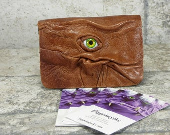 Business Card Case Holder Monster Brown Black Leather One Of A Kind Business Gift Harry Potter Labyrinth