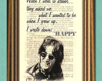 JOHN LENNON Beatles - HAPPY - Dictionary art print - Wall Art - book page print recycled