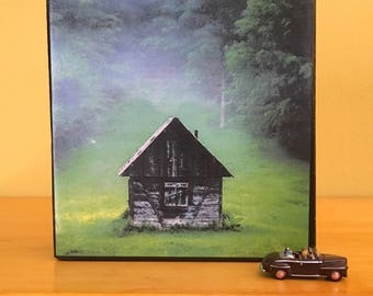 """Cabin Photo Art Block - Home Office Decor - Housewarming Gift- New House or  Wedding  Present Cabin in the Knoll- 4"""" x 4"""""""