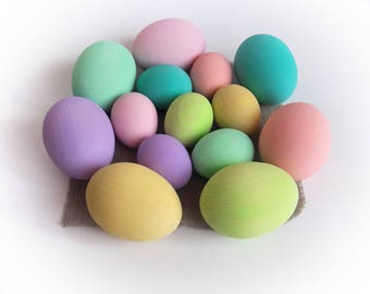 Easter gift - Gift for baby - Pastel Rainbow EGGS - 7 Easter eggs-Pretend Play - Play Food - Waldorf - Montessori Toddler Toy - Natural Toy